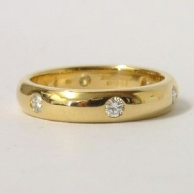 Cartier 18k Yellow Gold Diamond Set Band Ring