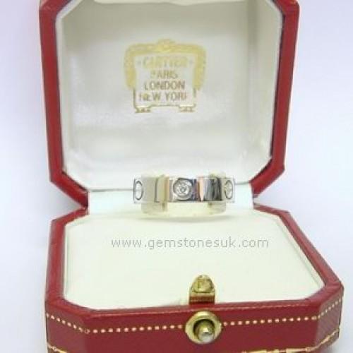 Cartier 1 2 Diamond Love Screw Ring 18ct White Gold