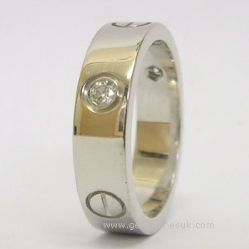 1 2 Diamond Love Screw Ring 18ct White Gold
