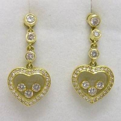 18ct yellow gold Chopard happy diamonds drop earrings