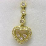 18ct yellow gold Chopard happy diamonds drop earrings
