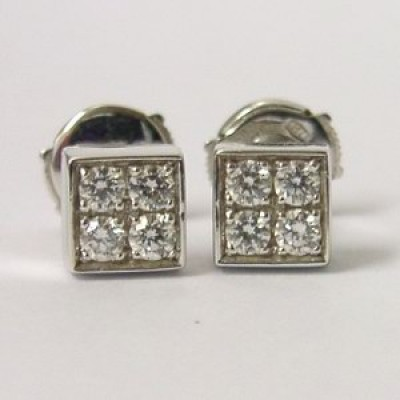 Bvlgari 18K White Gold Lucea Square Diamond Stud Earrings