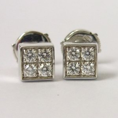 8456214cf Bvlgari 18K White Gold Lucea Square Diamond Stud Earrings