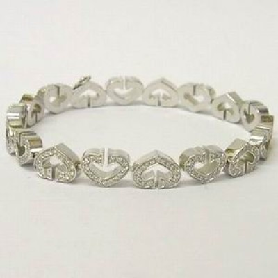 Cartier C Heart Full Diamond 18ct White Gold Bracelet