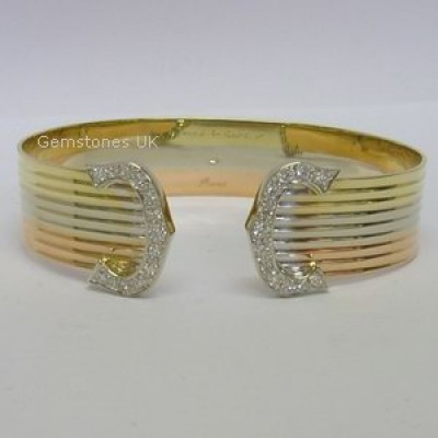 Cartier Trinity Double C Diamond Bracelet In 18ct Gold