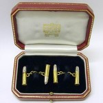 Cartier Cufflinks Solid Bullet shape In 18ct gold & platinum