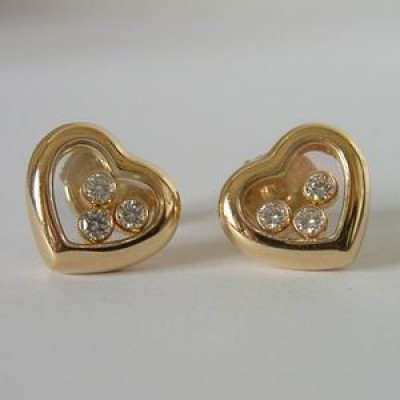 Chopard 18ct gold happy diamonds heart earrings
