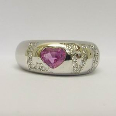 Chopard 18ct white gold diamond & pink sapphire ring