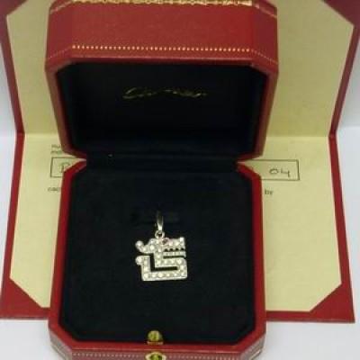 18ct white gold Cartier diamond dragon motif charm