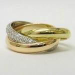 Cartier 18ct 3 colour gold diamond trinity ring