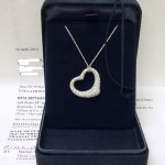 Tiffany Open Heart Elsa peretti Diamond Platinum Pendant