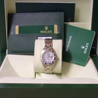 Rolex 18ct White Gold Ladies 80319 Pearlmaster Watch UK Box & Papers 2010.