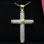Theo Fennell 18ct gold large diamond cross pendant