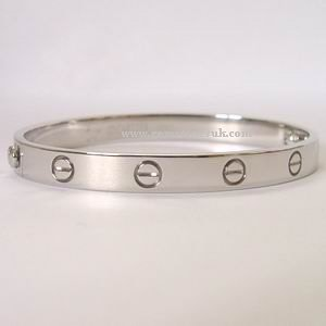 18K White Gold Cartier Love Screw Bracelet Size 17