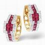 9ct yellow gold diamond & ruby earrings